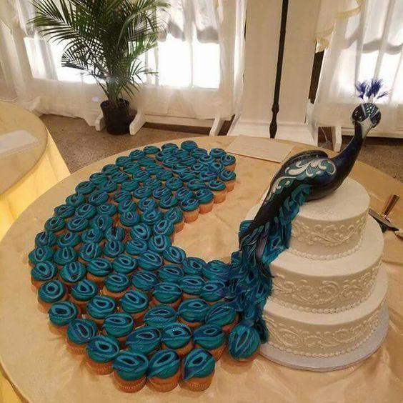 Peacock Cupcakes Wedding Cake Designs