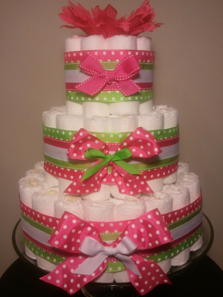 11 Photos of Pink Lime Green Diaper Cakes