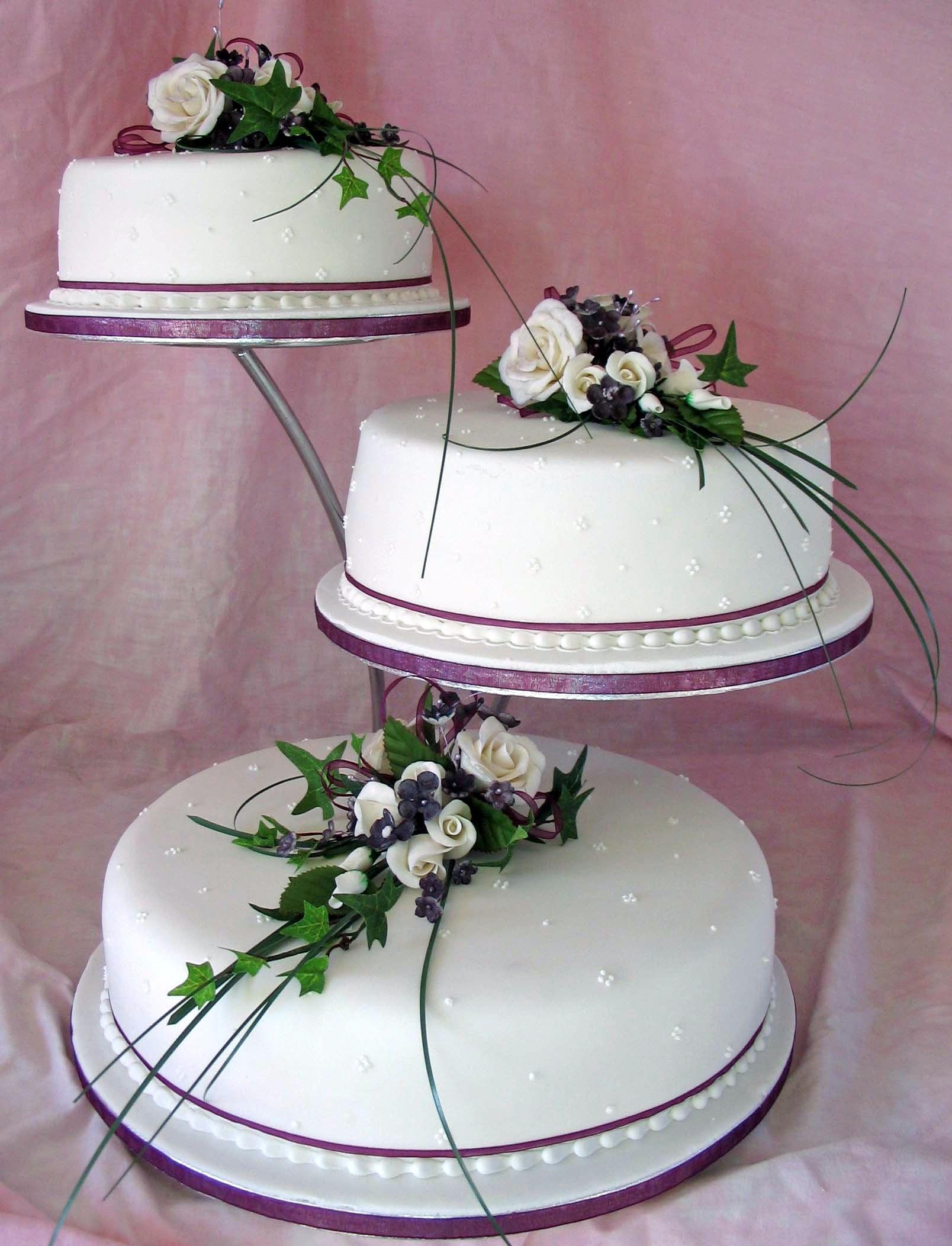 Purple Waterfall Wedding Cake