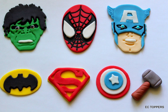 Super Hero Fondant Cupcake Toppers