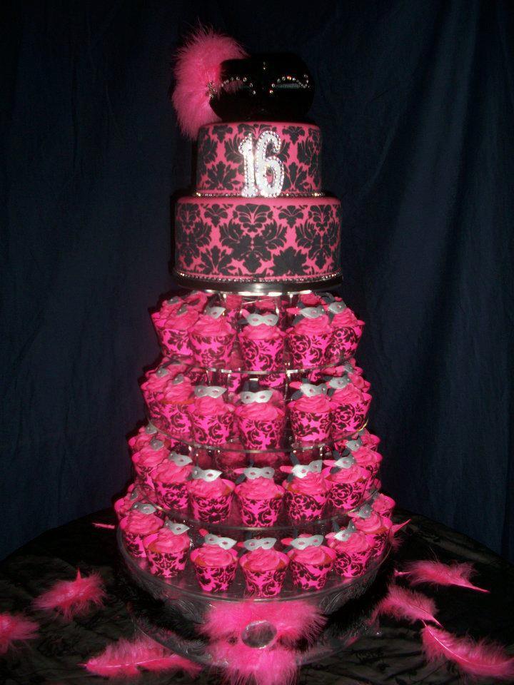 Sweet 16 Masquerade Theme Cake