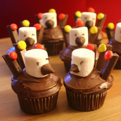 Turkey Cupcakes with Kit Kats