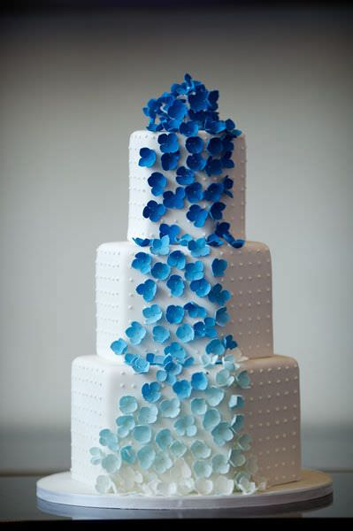 Wedding Cake Blue with White Flowers
