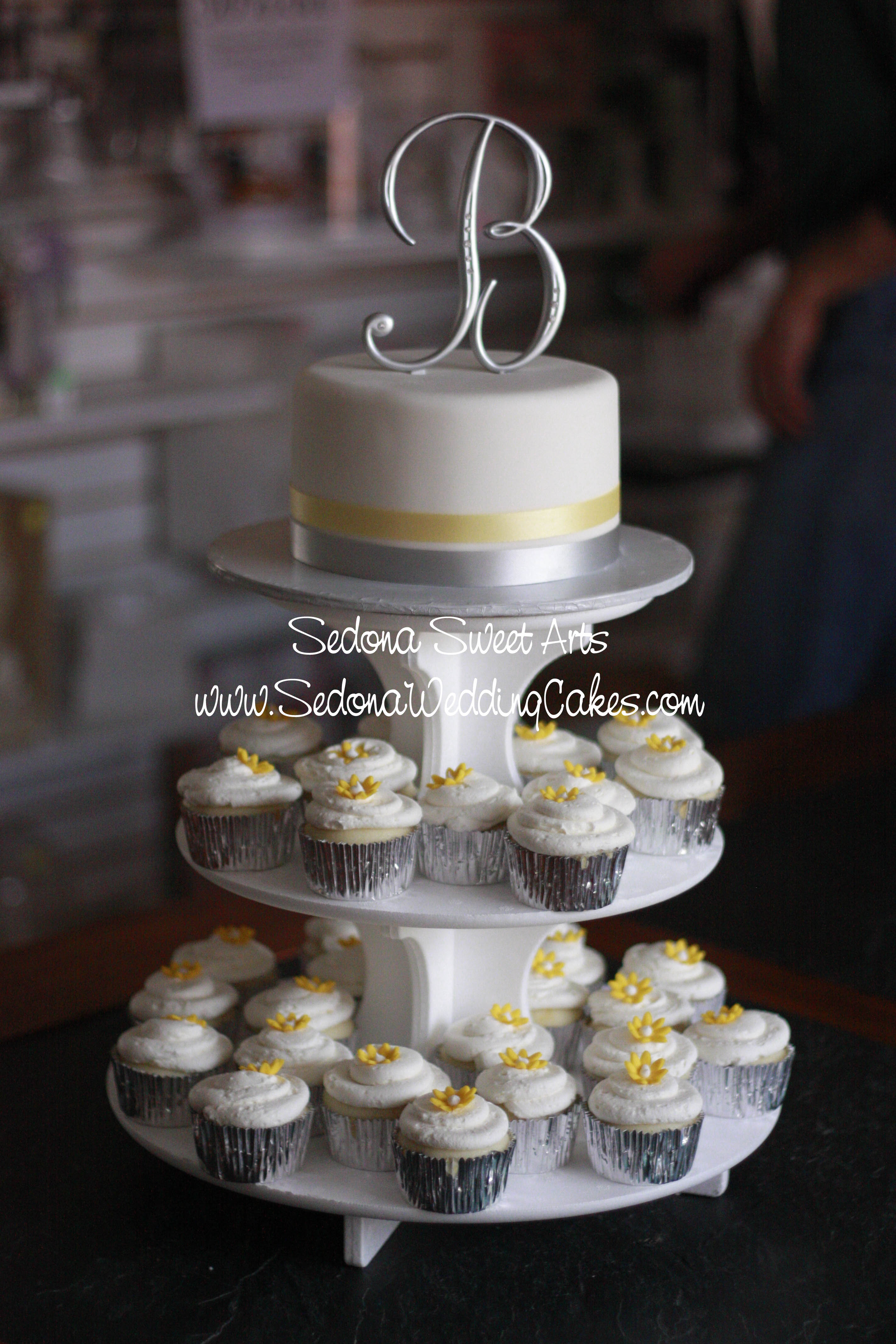 Wedding Cake with Cupcake Tower