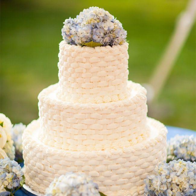 White Basketweave Wedding Cake