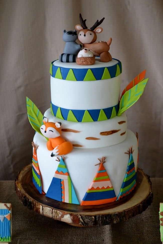 Woodland Themed Birthday Party Cake