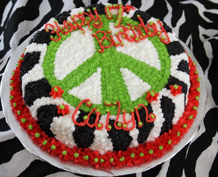 Zebra Peace Sign Birthday Cake