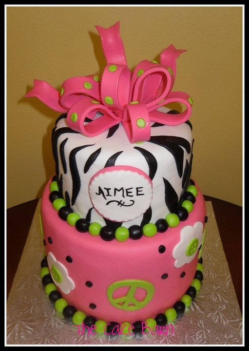 Zebra Peace Sign Cake