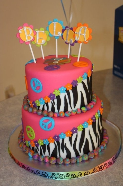 Zebra Print Peace Sign Cake