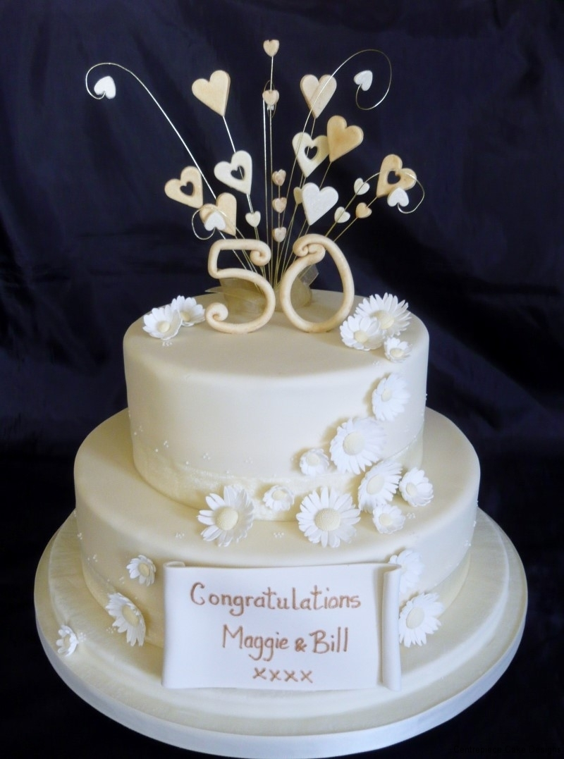 2 Tier 50th Wedding Anniversary Cakes