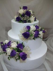 3 Tier Wedding Cake with Purple Flowers