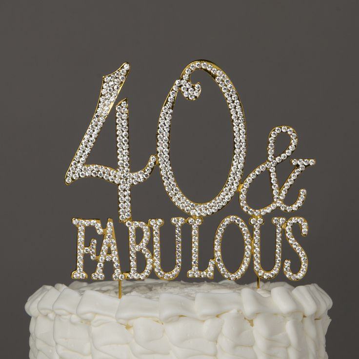 40th Gold Birthday Cake Topper