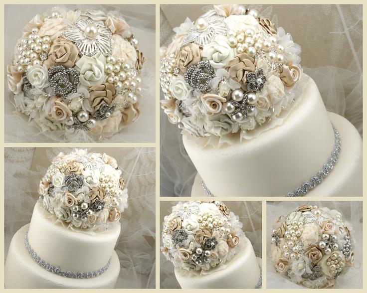 Brooch Wedding Cake Topper
