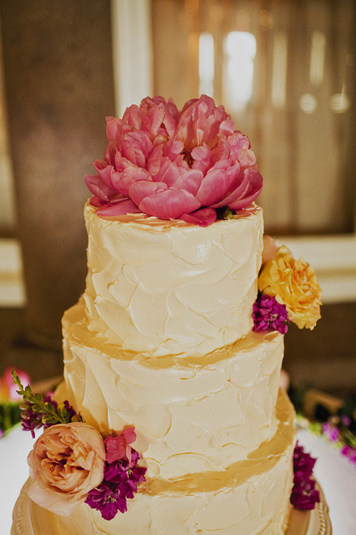 Buttercream Wedding Cake with Pink Flower