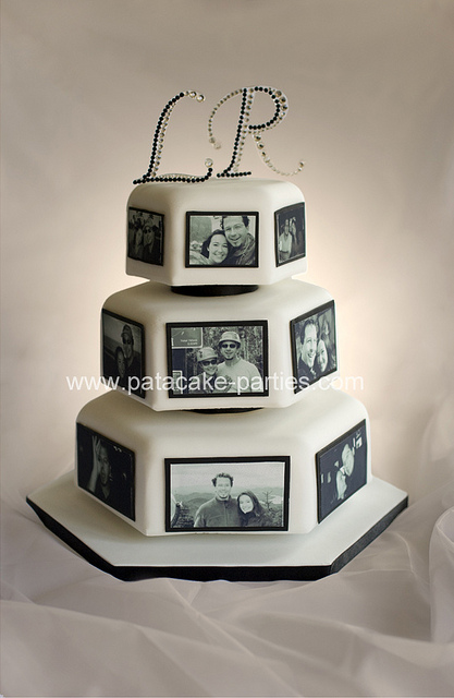 Couples Wedding Cake with Edible Pictures