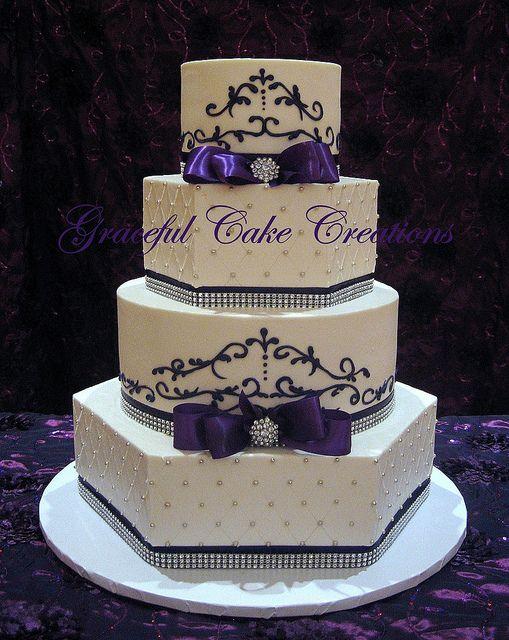 Elegant Blue and Purple Wedding Cakes