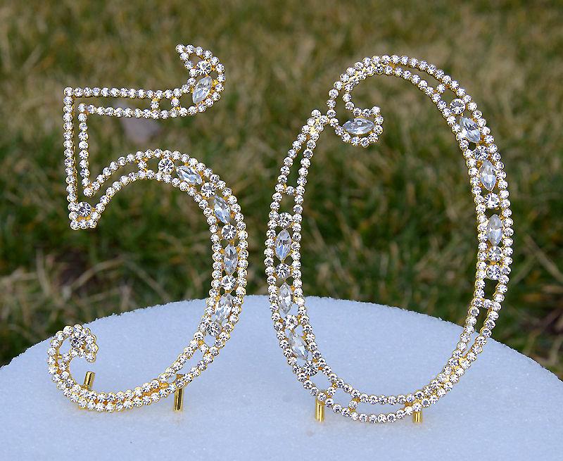 Gold 50th Birthday Rhinestone Cake Topper