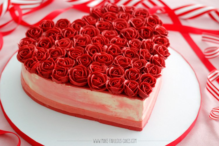 Heart Shaped Cake with Roses