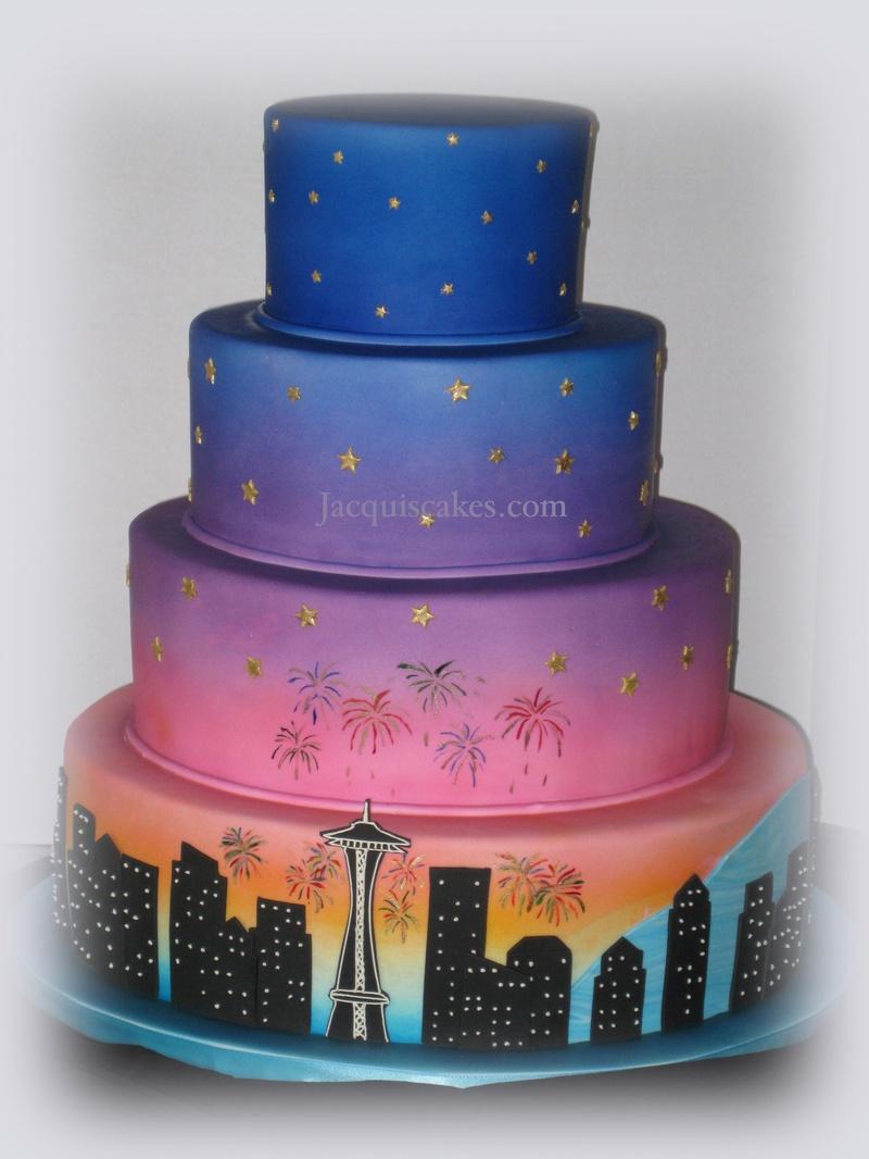 Seattle Skyline Birthday Cake