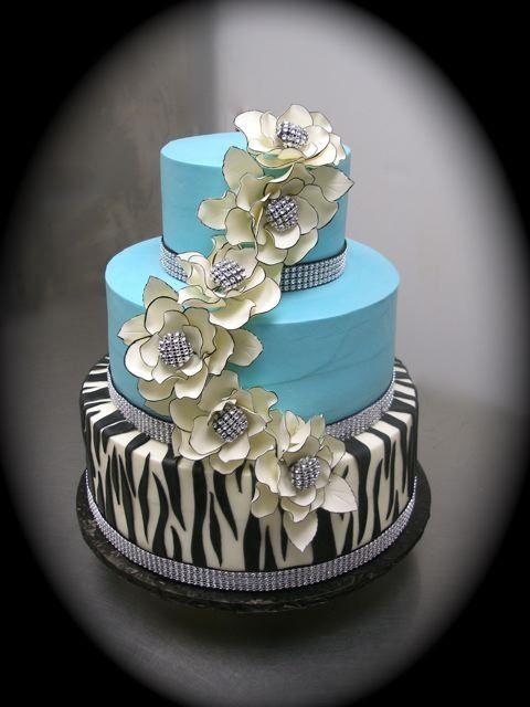 Turquoise and Zebra Birthday Cake