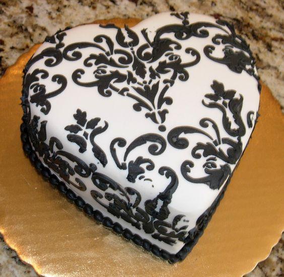 7 Photos of Damask Fondant Mini Cakes