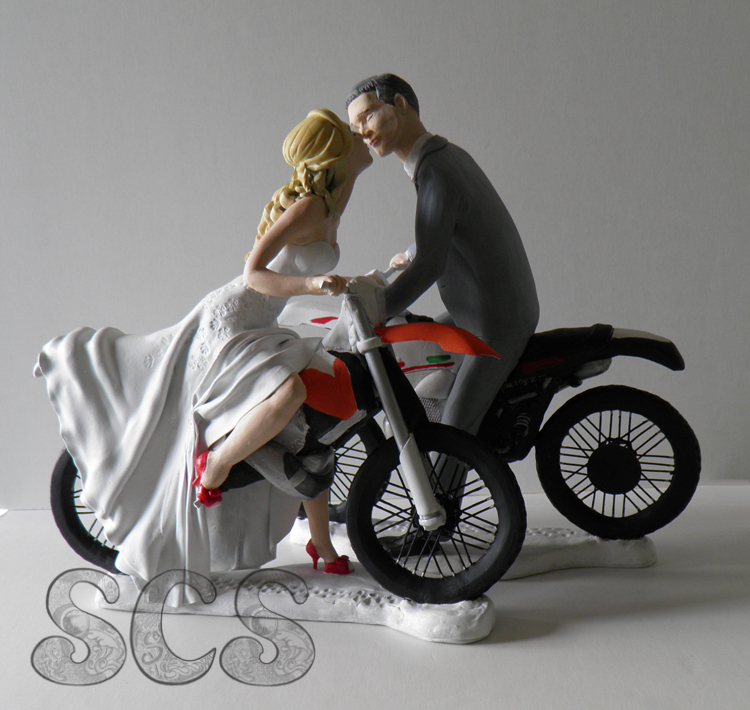 Dirt Bike Groom Wedding Cake Topper