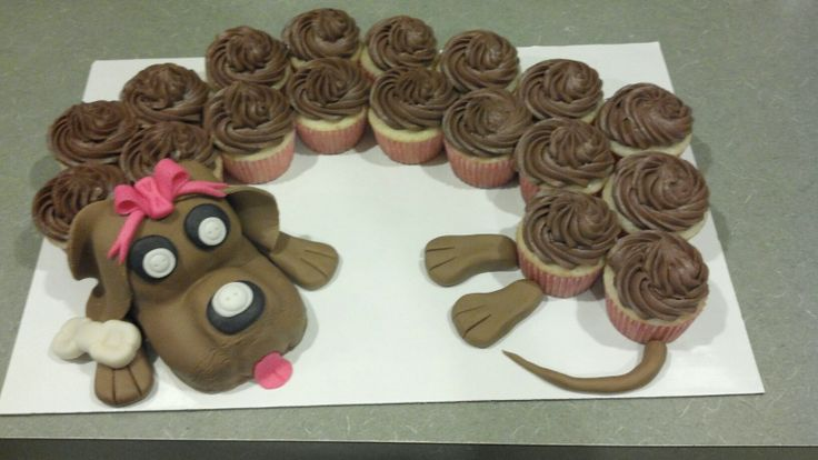 Dog Birthday Cupcake Cake