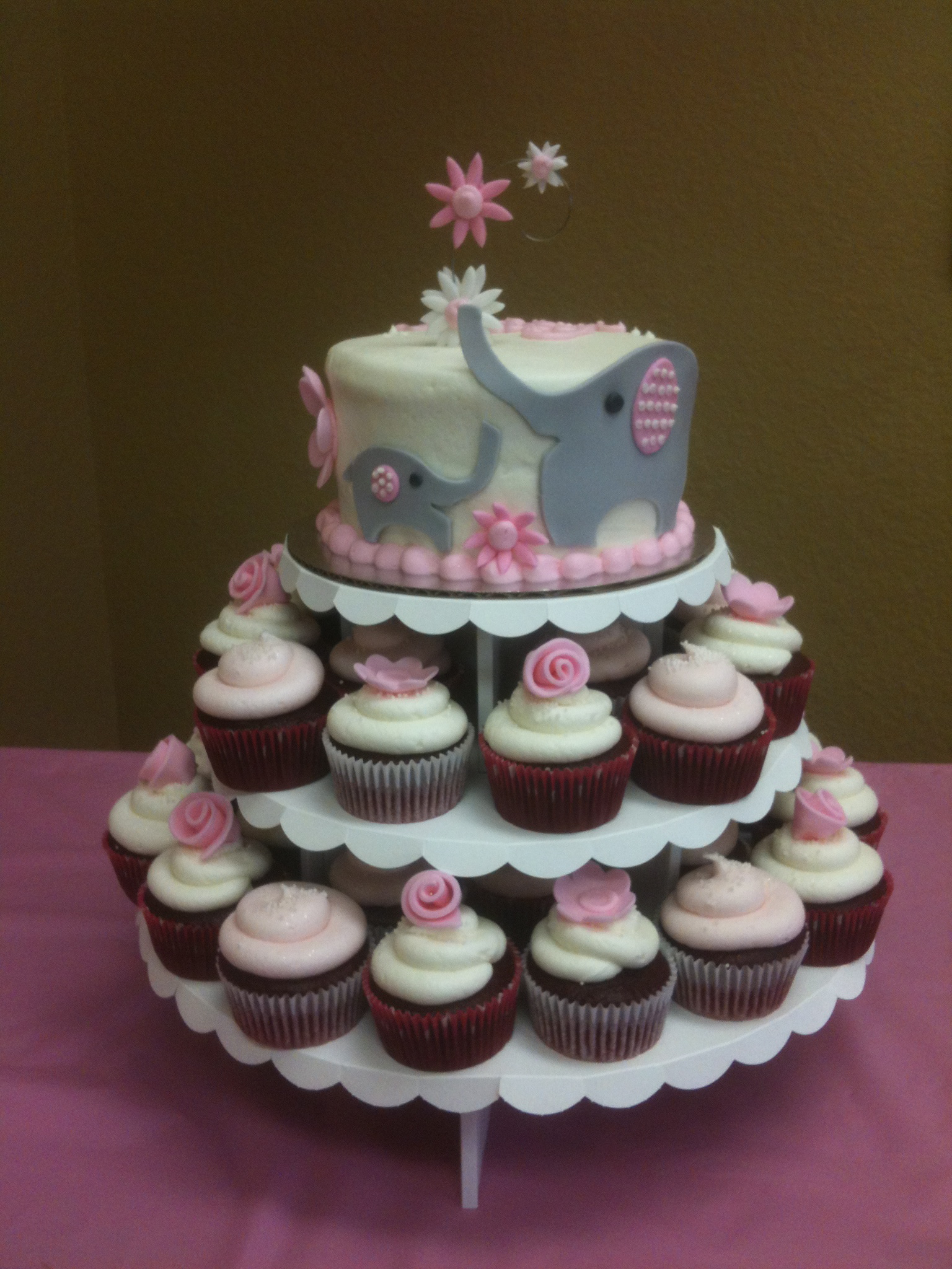 Elephant Baby Shower Cupcake Cake for Girl