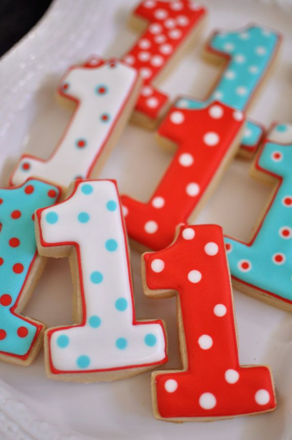 First Birthday Number 1 Cookies
