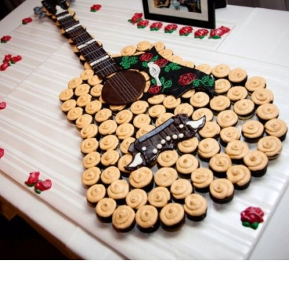 Guitar Cakes Made of Cupcakes