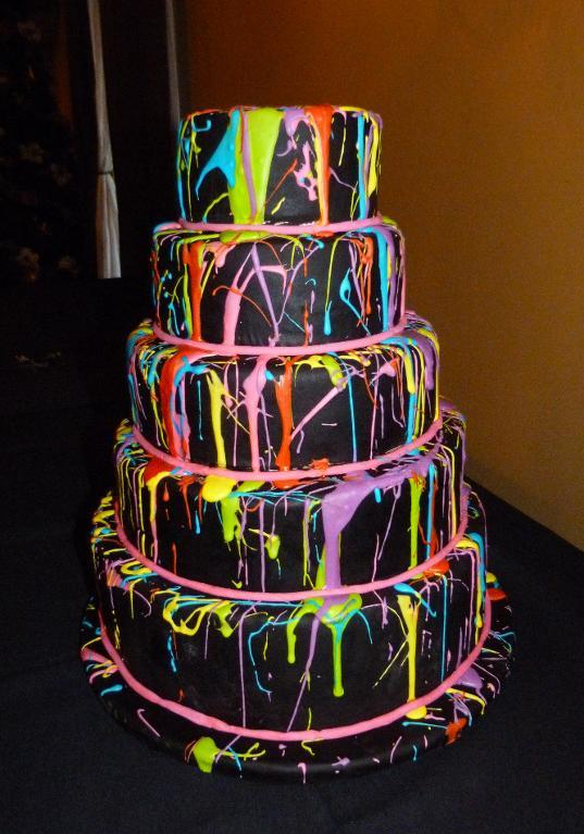 Neon Paint Splatter Cake