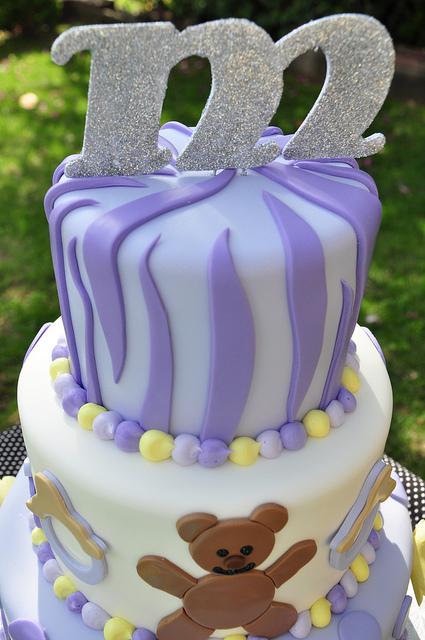 Purple Zebra Baby Shower Cake