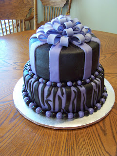 Purple Zebra Print Birthday Cakes
