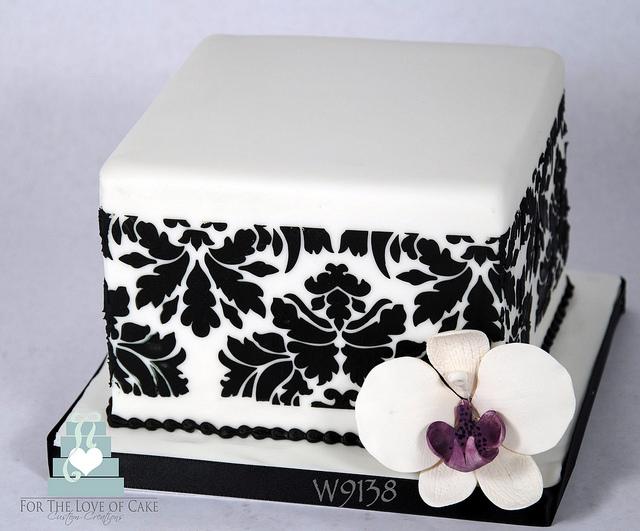 Square Damask Wedding Cake