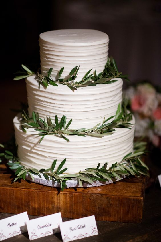 Three Tier Wedding Cake with Greenery