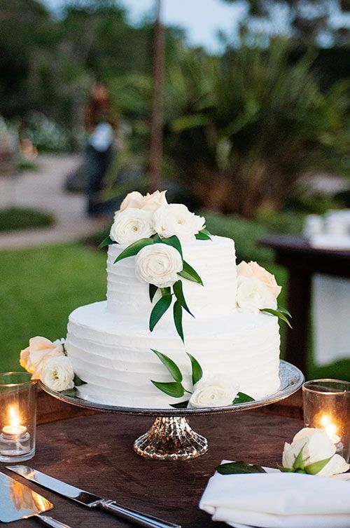 Wedding Cake with Flowers and Greenery