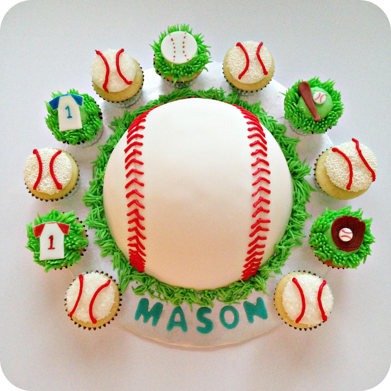 9 Photos of Baseball Themed Cake Cupcakes