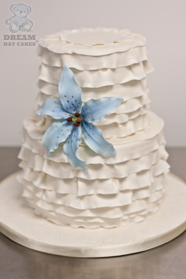 Blue and White Lily Wedding Cake