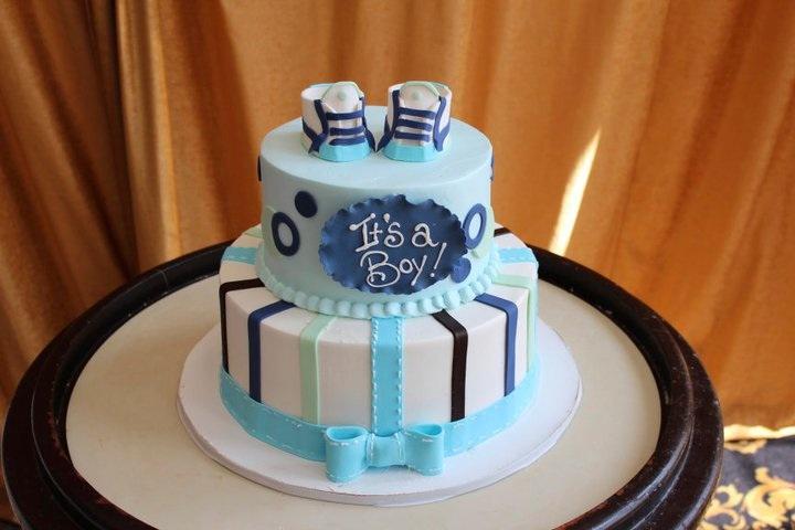 Blue Baby Boy Shower Cake