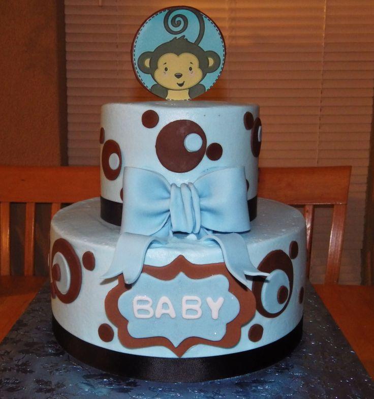 Boy Monkey Theme Baby Shower Cake