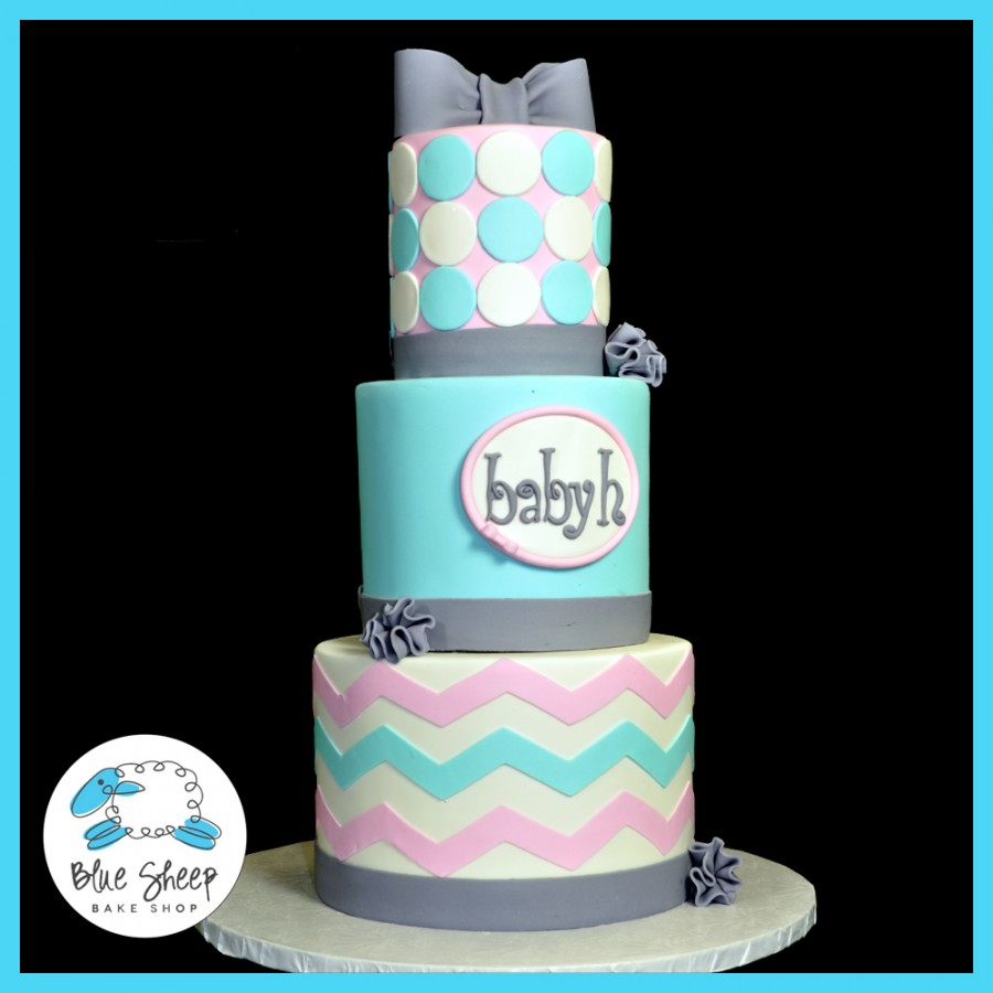 Chevron Baby Shower Cake
