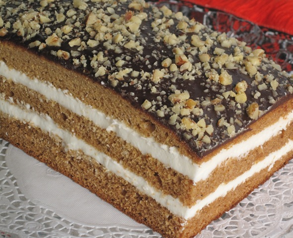 Chocolate Sheet Cake with Walnut