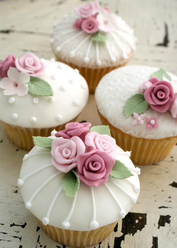 9 Photos of White Fondant Flower Cupcakes