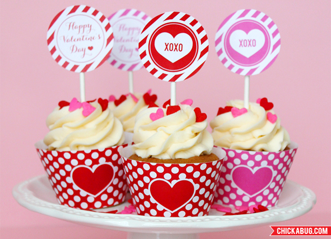 Cupcakes Valentine's Day Free Printables