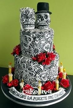 Day of the Dead Skull Wedding Cake