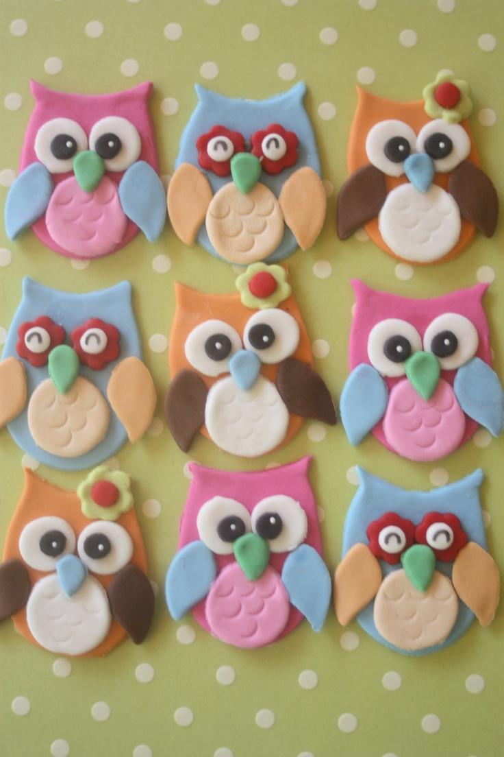 Fondant Owl Cupcake Toppers
