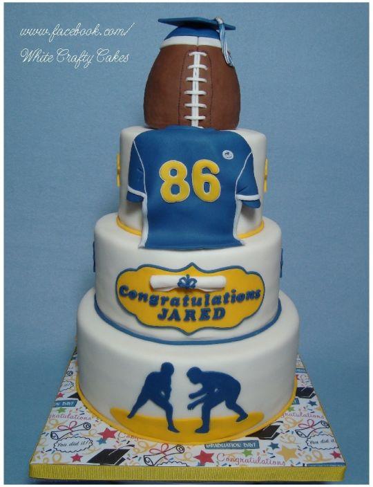 Football Player Graduation Cake