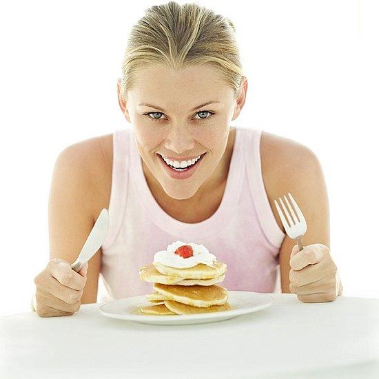 Girl Eating Breakfast Pancakes