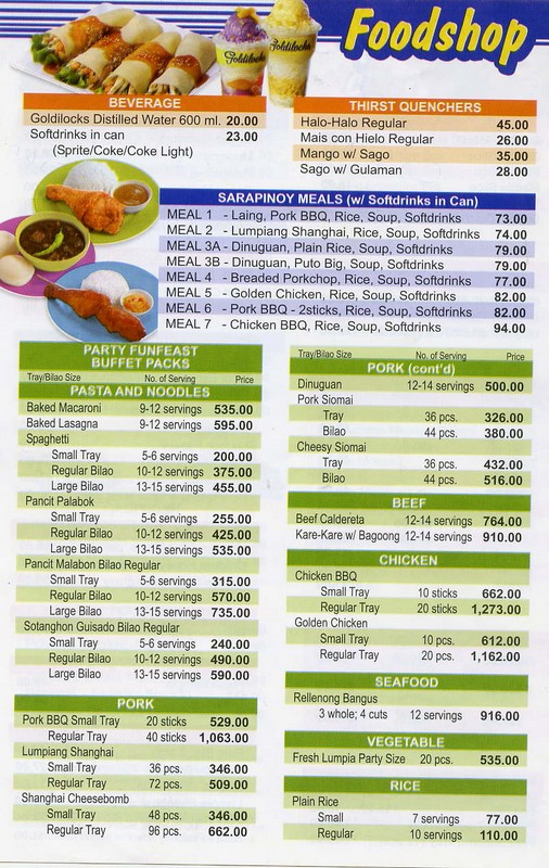 Goldilocks Cake Philippines Price List