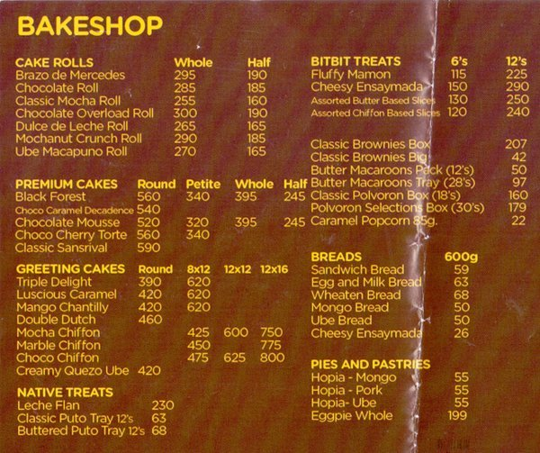 Goldilocks Menu Philippines Price List